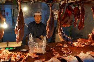 Ein Fleischer in Xining