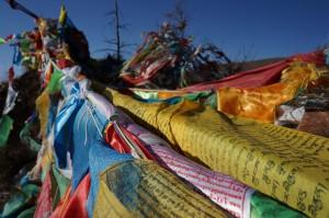 Gebetsflaggen bei einem Kloster nahe Xining