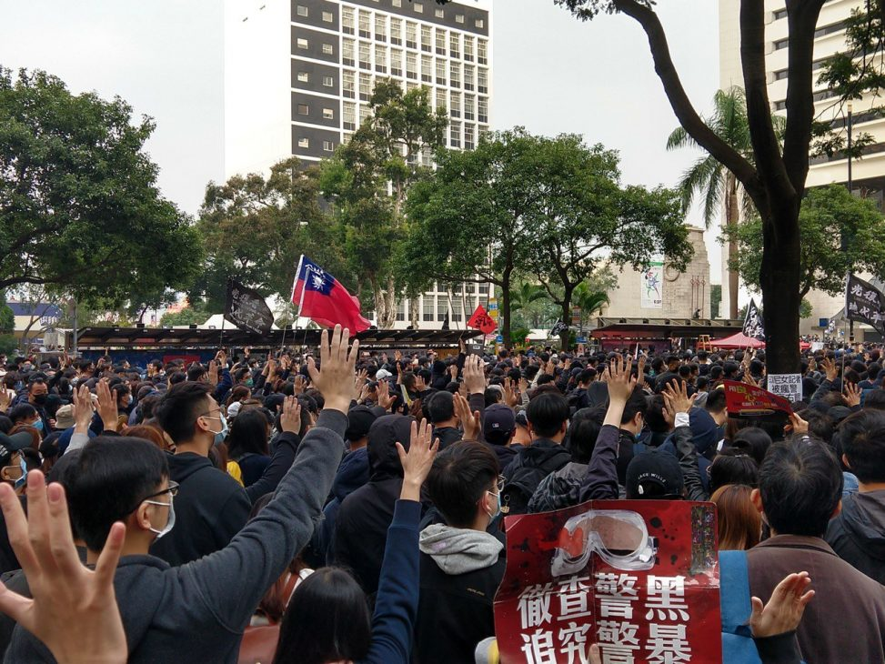 A protest in Hong Kong, January 2020